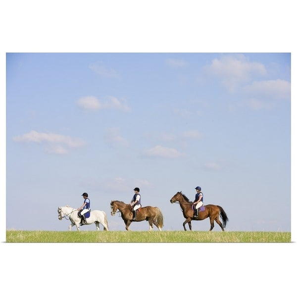 """""""People riding horses"""" Poster Print"""
