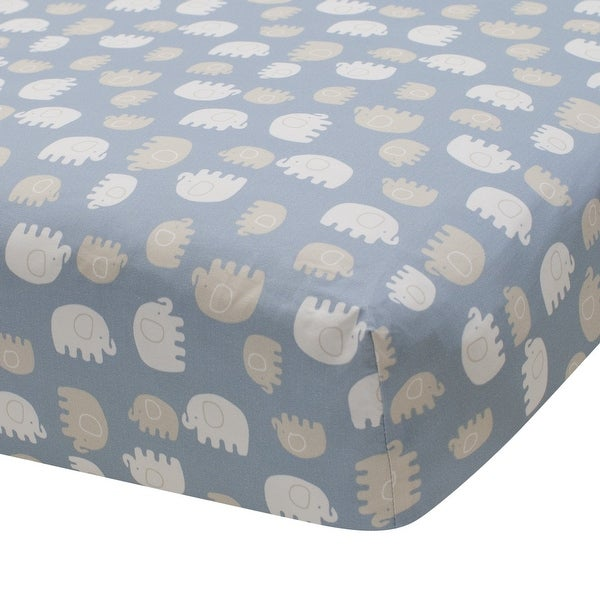 Lambs & Ivy Signature Elephant Tales 100% Cotton Blue/Gray/White Baby Fitted Crib Sheet. Opens flyout.