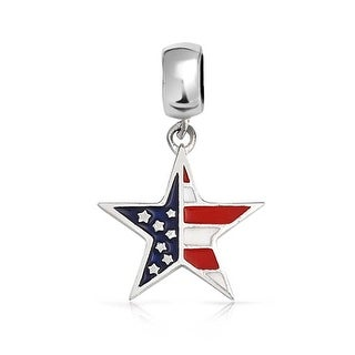 Bling Jewelry Patriotic American Flag Dangle Charm Bead .925 Sterling Silver