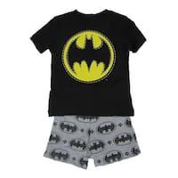 DC Comics Little Boys Black Grey Batman Logo Print 2 Pc Shorts Outfit