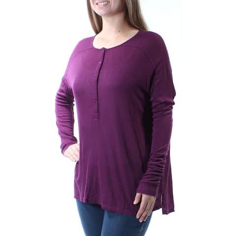 BASS Womens Purple Sheer Button Neck Long Sleeve Jewel Neck Top Size: M
