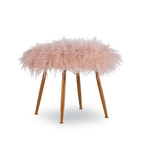 Aster Pink Faux-fur Stool