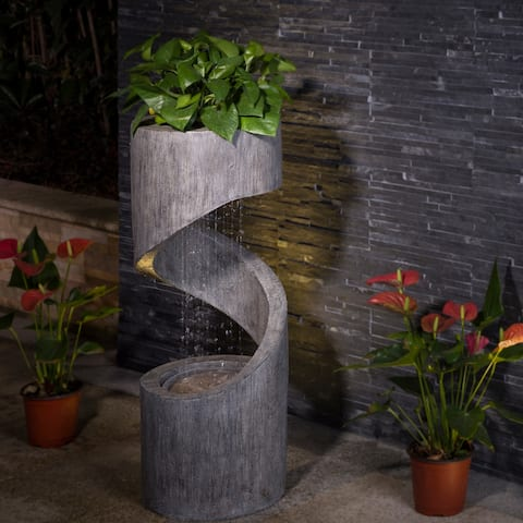 "Glitzhome 31""H Polyresin Curving Shaped Outdoor Fountain With LED Light"