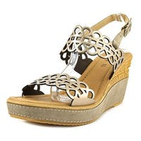 Azura Nicola Women  Open Toe Leather Gold Wedge Sandal
