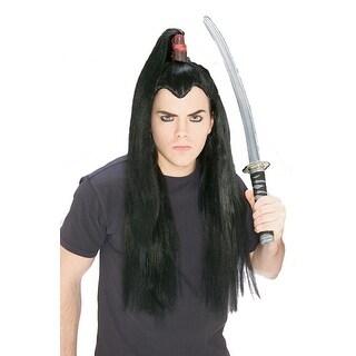 Samurai Long Black Hair Wig for Warrior Costume