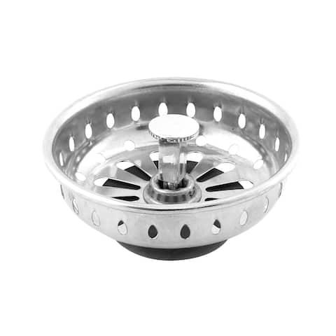 Household Stainless Steel Sink Garbage Drain Basket Strainer Silver Tone Black
