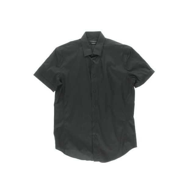 Zara Black Tag Mens Button Down Shirt Super Slim Fit Short Sleeves L
