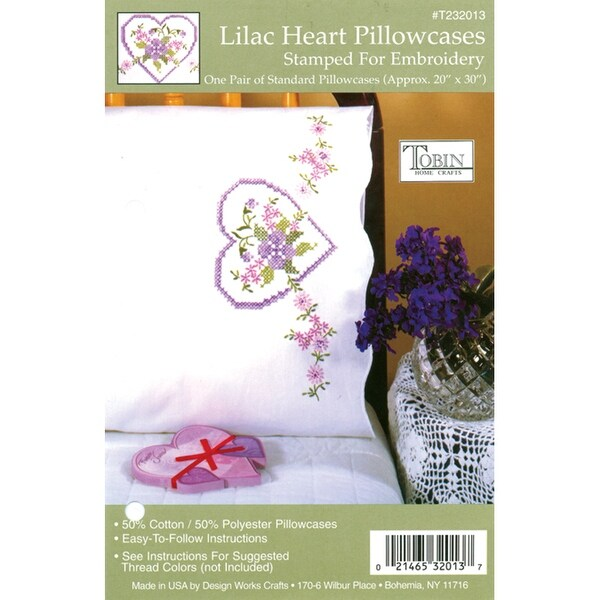 "Stamped Pillowcase Pair For Embroidery 20""X30""-Lilac Heart"