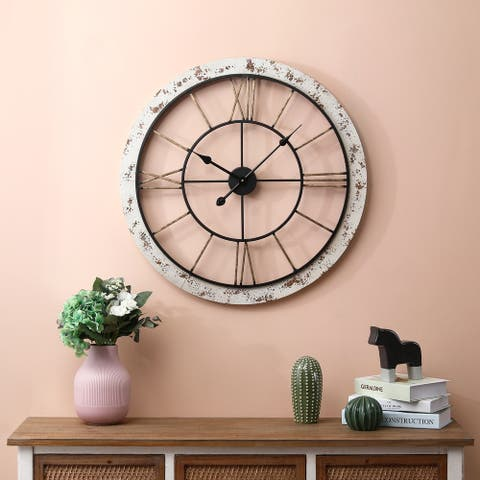 25in. Dia. Iron and MDF Wall Clock - 25.5in Dia.