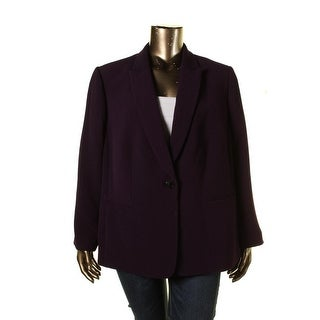 Tahari ASL Womens Plus Melissa Crinkled Long Sleeves One-Button Blazer - 22W