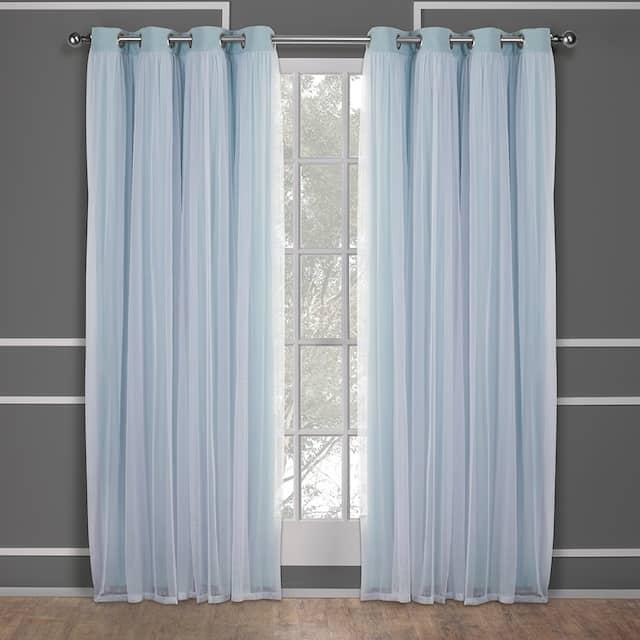 ATI Home Catarina Layered Curtain Panel Pair with grommet top - 52x120 - Aqua