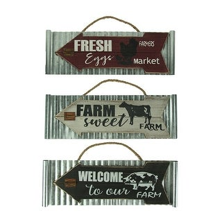 Set of 3 Farmhouse Wood On Galvanized Metal Wall Hangings - Silver