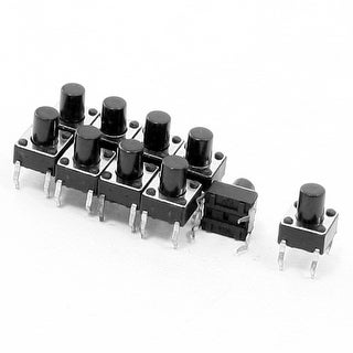 10pcs 6x6x7.5mm Round Pushbutton 4 Terminal DIP PCB Momentary Tactile Switch