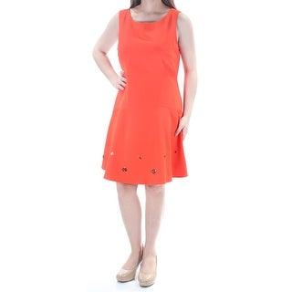 Womens Orange Sleeveless Knee Length Dress Size: 8