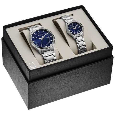 Bulova 96X151 Men's and Ladies Stainless Diamond Accent Blue Dial Bracelet Watch Boxed Gift Set - Silver-Tone