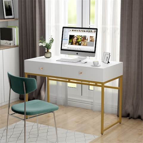 47'' Computer Desk with 2 Storage Drawers, Home Office Corner Desk Study Table Writing Desk