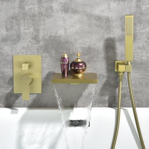 GZMR Single-Handle Wall Mount Roman Tub Faucet with Hand Shower in Brushed Gold