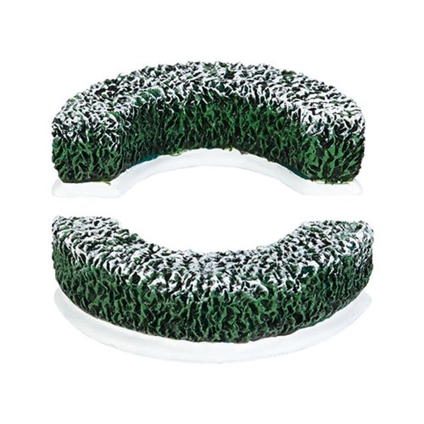 """Department 56 Snow Village """"Tudor Gardens Curved Hedge S/2"""" Accessory #4038842 - green"""