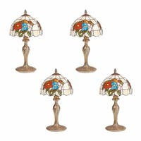 4 Table Lamp Antique Brass  Style Stained Glass 19H
