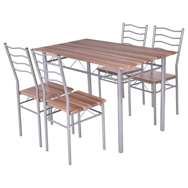 Modern 5pc Dining Table Set Kitchen Dinette Chairs: Shop Costway 5 Piece Dining Set Wood Metal Table And 4