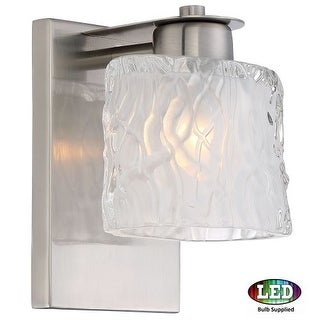 """Platinum PCSW8601LED Seaview 1 Light 6"""" Wide Bathroom Wall Sconce with Glass Bell Shade"""
