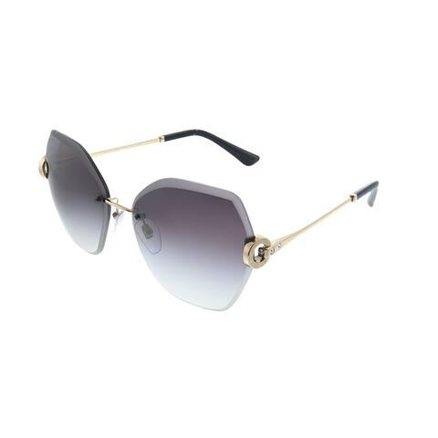 Bvlgari BV 6105B 20148G Womens Rose Gold Frame Grey Gradient Lens Sunglasses