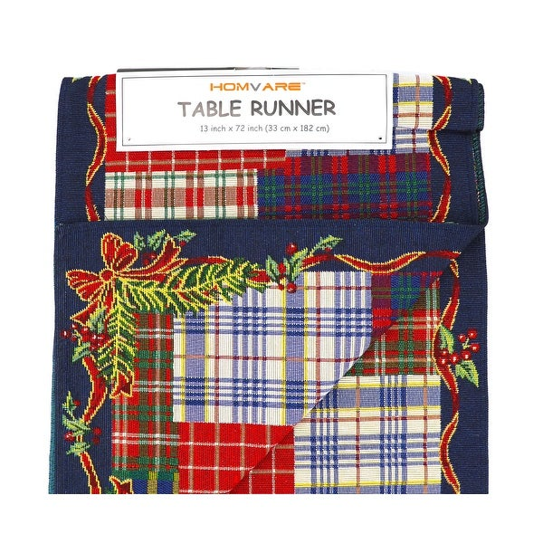 Homvare Holiday Tapestry Runner 13 x 72 - Christmas Plaid