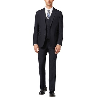 Kenneth Cole Reaction Slim Blue and Black Check 3pc Suit 36 Regular Pants 30W