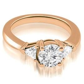 1.15 cttw. 14K Rose Gold Round Trillion Three Stone Diamond Engagement Ring