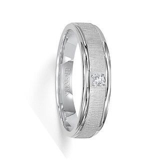 ASHFORD 14k White Gold Wedding Band Flat Vertical Brushed Finish with Single Center Diamond Rolled Edges by ArtCarved- 6 mm