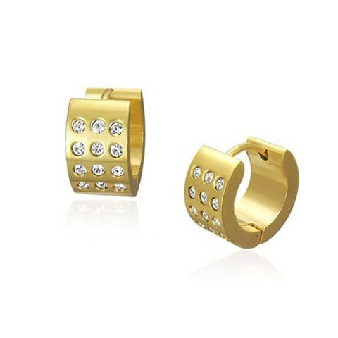 Wide 3 Row Hoop Hoop Kpop Earrings or CZ Gold Plate Stainless Steel