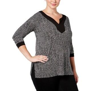 MICHAEL Michael Kors Womens Plus Casual Top Printed Elbow Sleeves