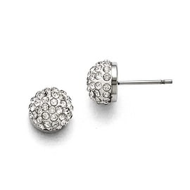 Chisel Stainless Steel Polished White Enamel with Crystals Post Earrings