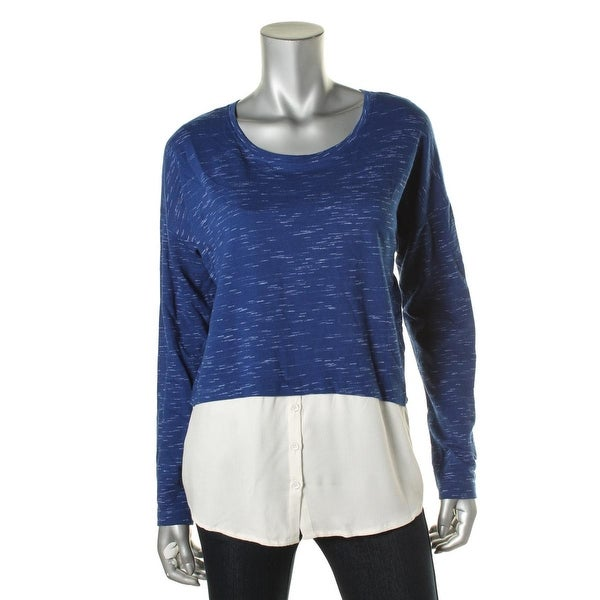Kensie Womens Pullover Top Cotton Marled
