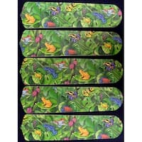 Tree Frogs Themed Custom Designer 52in Ceiling Fan Blades Set - Multi