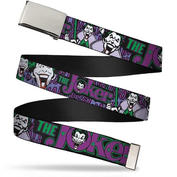 """Blank Chrome 1.0"""" Buckle Joker Face Logo Spades Black Green Purple Webbing Web Belt 1.0"""" Wide - S"""