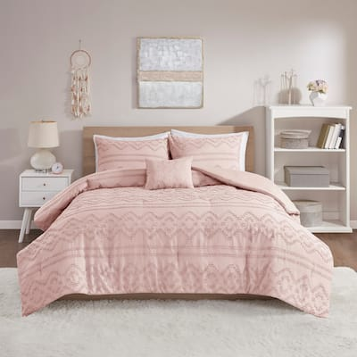 Whitney Solid Clipped Jacquard Comforter Set by Intelligent Design