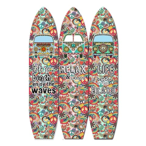 Beach Themed Surfboard Shaped 3 Panel Room Divider, Multicolor - 71 H x 2 W x 47 L Inches