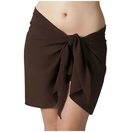 Short Plus Size Brown Swimsuit Sarong Cover Up with Built in Ties