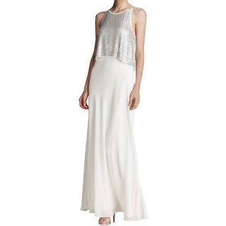 Aidan Mattox Womens Evening Dress Sheer Beaded
