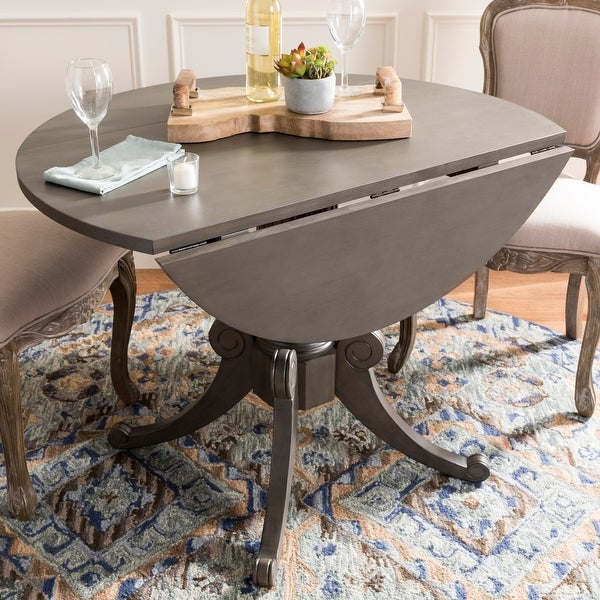 """SAFAVIEH Forest Grey Wash Drop Leaf Dining Table - 43.3"""" x 43.3"""" x 30.7"""". Opens flyout."""