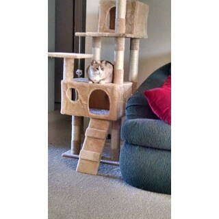PETMAKER Skyscraper Tan Sleep and Play Cat Tree
