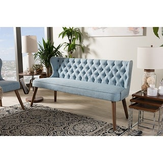 Scarlett Brown/Blue Fabric Upholstered Button-Tufting 3-Seater Sofa
