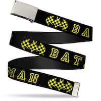 "Blank Chrome 1.0"" Buckle Batman Checker Logo Black Yellow Webbing Web Belt 1.0"" Wide - S"