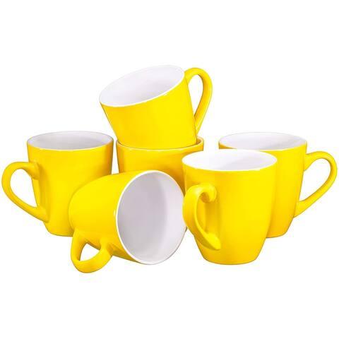 Coffee Mug Set Set of 6 Large-sized 16 Ounce Ceramic Coffee Mugs Restaurant Coffee Mugs By Bruntmor