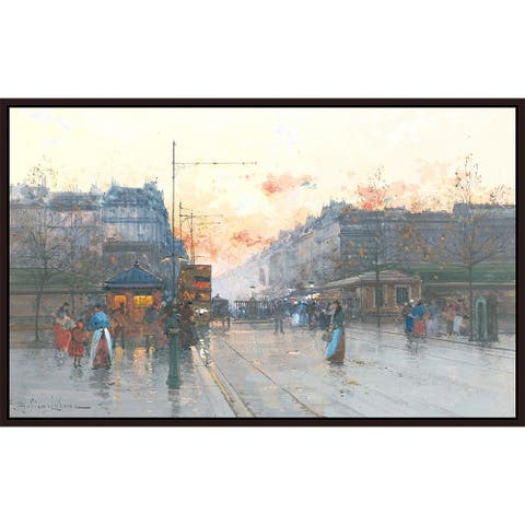 """Evening by Eugène Galien Laloue Giclee Print Oil Painting Cherry Brown Frame Size 14"""" x 9"""""""