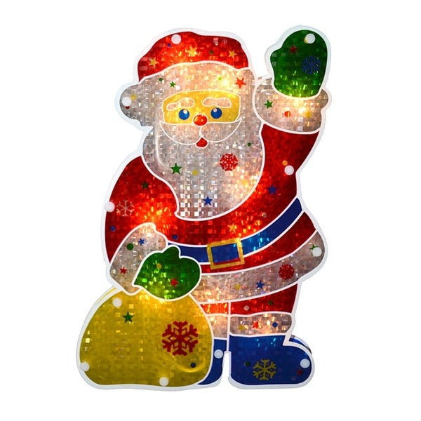 """13"""" Lighted Holographic Santa Claus Christmas Window Silhouette - RED"""