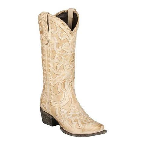 Lane Boots Women's Robin Cowgirl Boot Bone Full Grain Leather