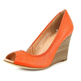 Julianne Hough Carolina Women Open Toe Leather Orange Wedge Heel