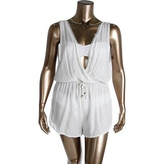O'Neill Womens Bungalow Gauze Lace Trim Romper Swim Cover-Up - XL